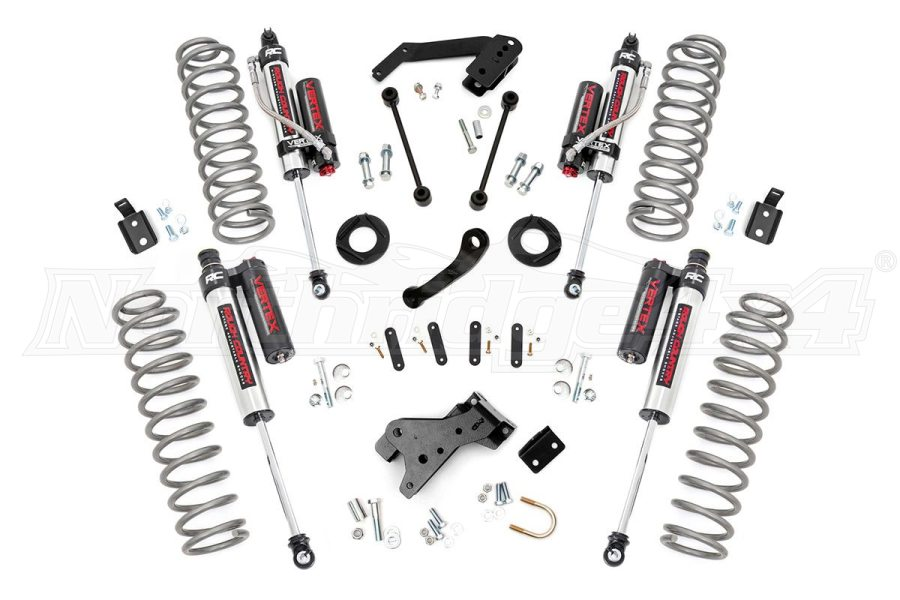 Rough Country Jeep Suspension 4in Lift Kit w/Vertex Shocks (Part Number:682V)