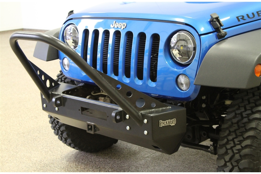 Rock Hard 4x4 Patriot Series Stubby Front Stinger Bumper with Receiver and Lowered Winch Plate - JK