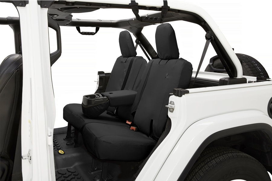 Bestop Rear Seat Covers - Black Diamond - JL 4Dr w/ Arm Rest