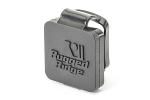Rugged Ridge 2in Receiver Hitch Plug Black Logo (Part Number: )