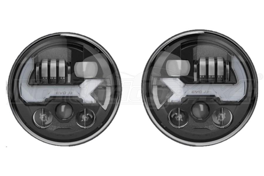 JW Speaker 8700 Evolution J3 Series Headlight Kit, Black - JT/JL/JK