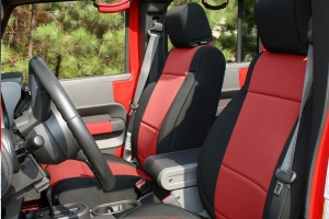 Rugged Ridge Seat Cover Kit Black/Red (Part Number: )