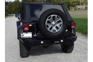 LOD Signature Series Gen4 Full Width Rear Bumper w/Door Linked Tire Carrier and Rigid Dually Cut Outs Black - JK