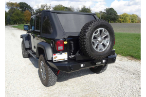 LOD Signature Series Gen 4 Full Width Door Linked Bumper w/Tire Carrier and Round Light Provisions, Black (Part Number: )