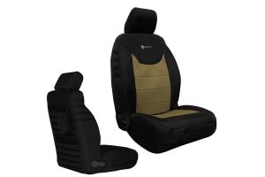 Bartact Tactical Series Front Seat Covers - Black/Khaki, SRS-Compliant - JK 2013+