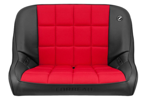 Corbeau Baja Bench 40in Black Vinyl Red Cloth (Part Number: )