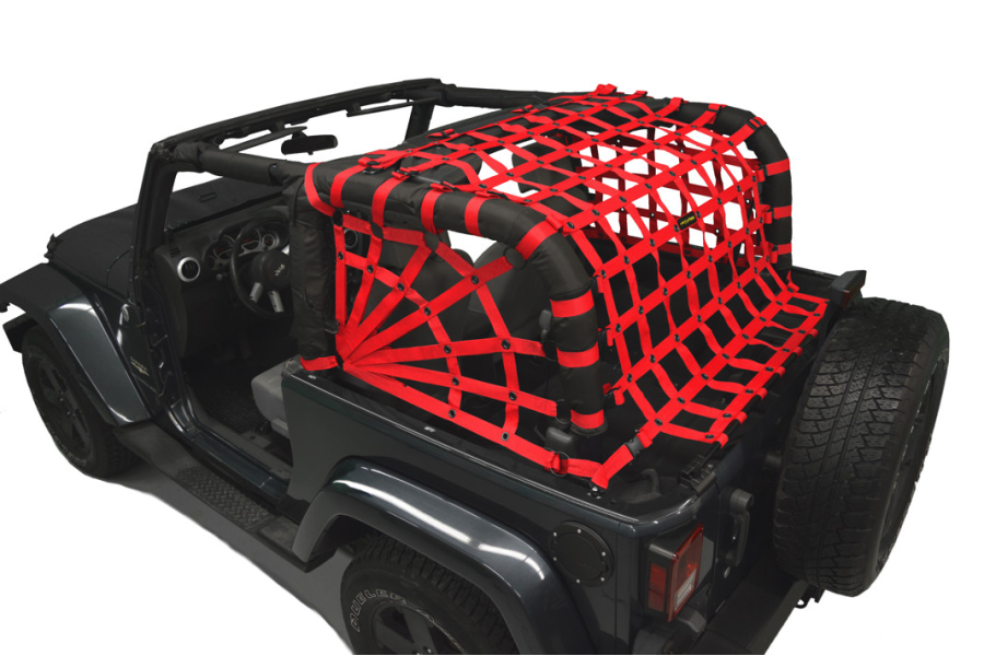 Dirty Dog 4x4 Spider Netting Rear Red - JK 2dr