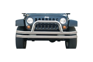 Rampage Products Front Double Tube Bumper, Stainless Steel  (Part Number: )