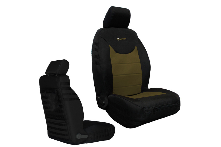 Bartact Tactical Series Front Seat Covers - Black/Coyote, SRS-Compliant - JK 2013+