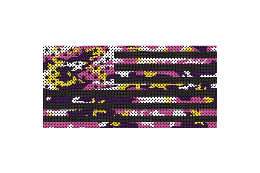 Under The Sun Inserts Purple Pink And Yellow Camo Stars And Stripes Grill Insert (Part Number:INSRT-CAMOPNKYLW-JL)