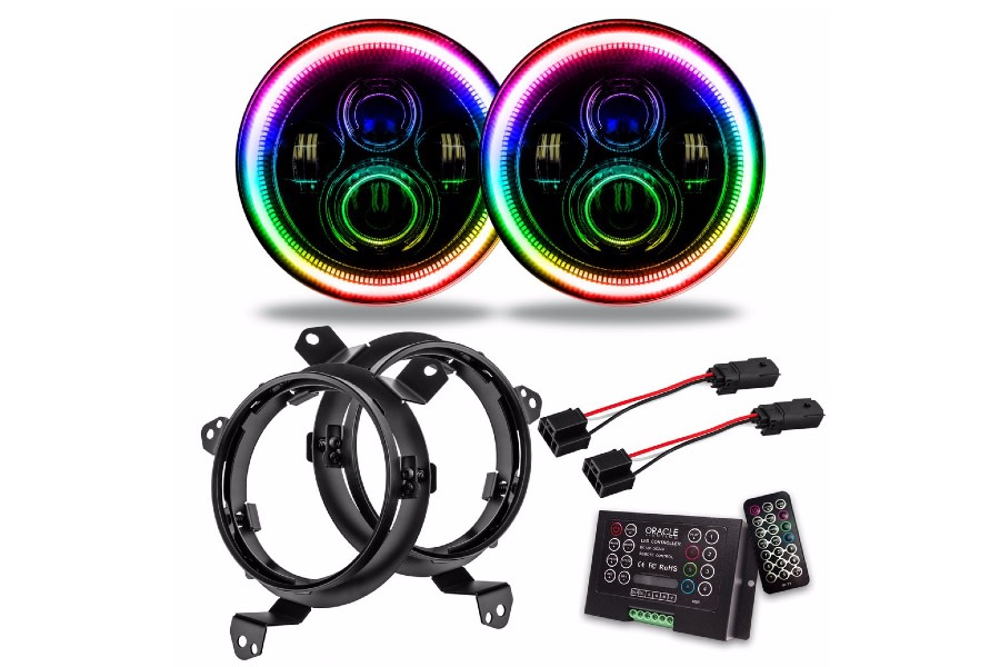 ORACLE 7in. High Powered LED Headlights Pair - ColorSHIFT 2.0 - JT/JL