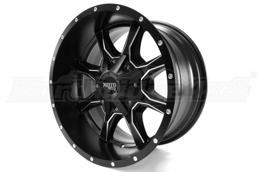 Moto Metal Wheels MO970 Semi Gloss Black w/Milled Spokes 18x10 8x180 (Part Number:MO97081088924N)