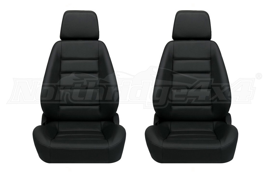Corbeau Sport Black Leather Seat Pair