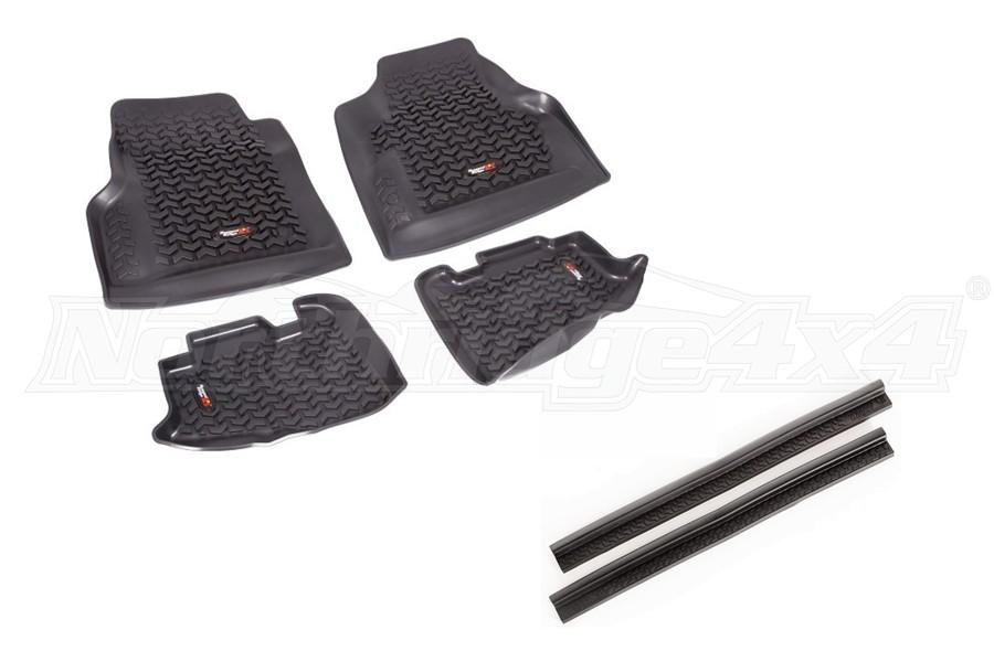 Rugged Ridge All Terrain Floor Liner Kit w/ Door Entry Guards Package - TJ