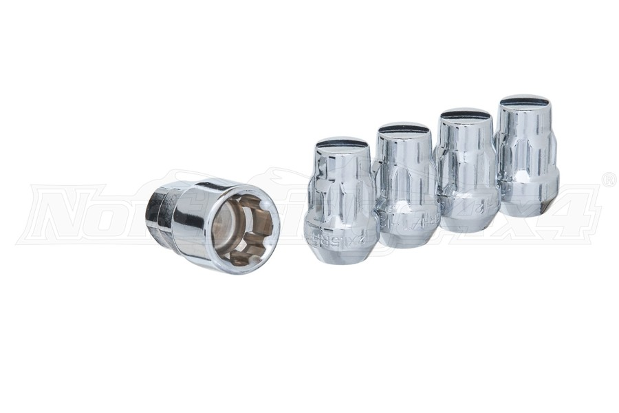 West Coast 12X1.5 Cone Seat Acorn Bulge Closed End Wheel Locks, Chrome - 5 PACK (Part Number:W2015L-5)