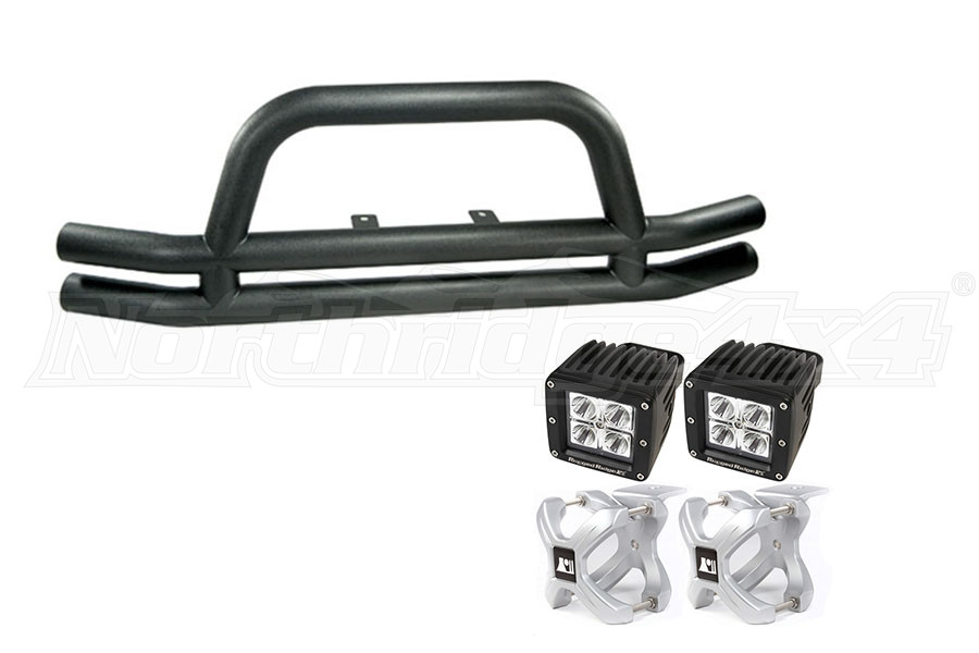 Rugged Ridge Stainless Tube Front Bumper w/ X-Clamp LEDs (Part Number:TUBEBUMPERPKG1)