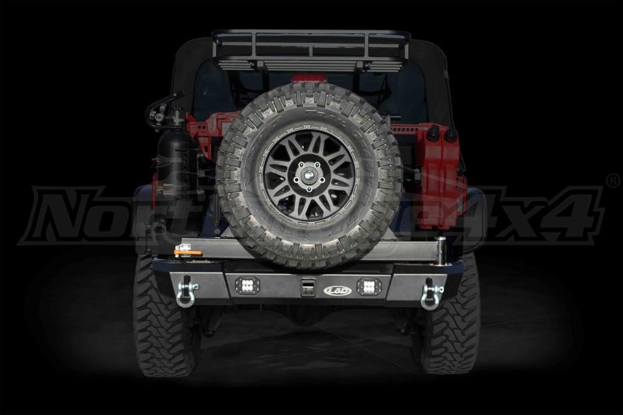 LOD Signature Series Armor Lite Gen 4 Shorty Rear Bumper w/Tire Carrier and Rigid Light Cut Outs Black (Part Number:JBC0755)