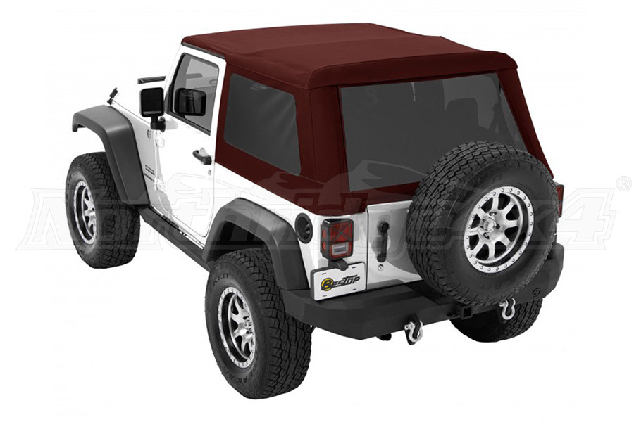 Bestop Trektop NX Glide Soft Top with Tinted Side & Rear Windows - Red Twill (Part Number:54922-68)