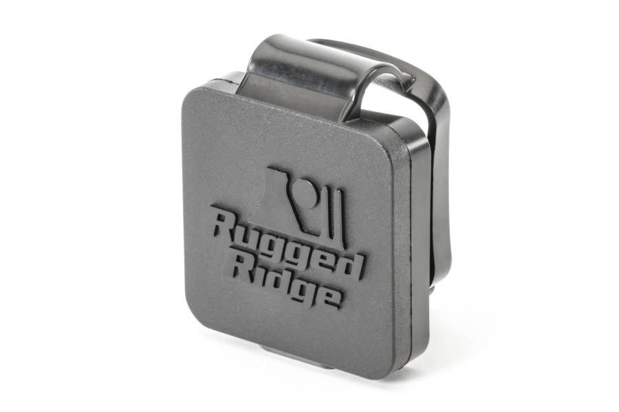 Rugged Ridge 2in Receiver Hitch Plug Black Logo