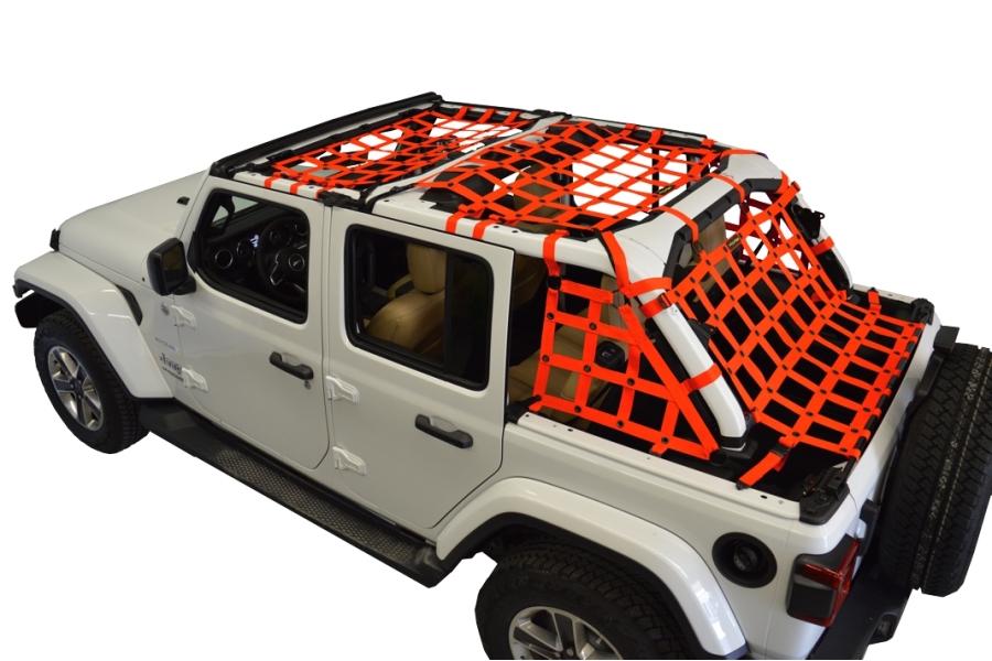 Dirty Dog 4x4 5pc Cargo Side Netting Kit, Orange - JL 4Dr