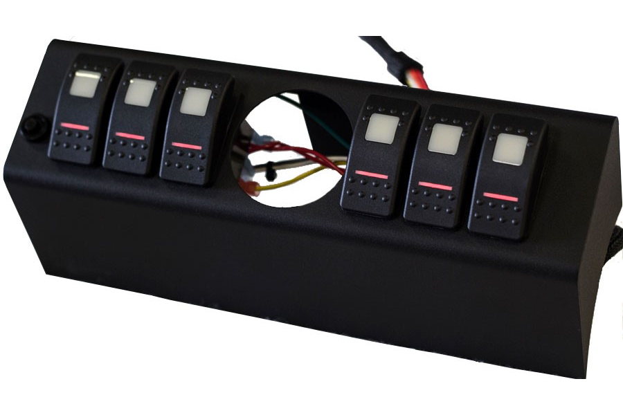 sPOD 6 SWITCH 2-1/16IN DIA. EMPTY GAUGE HOLE WITH DUAL LIT LED SWITCHES RED - JK