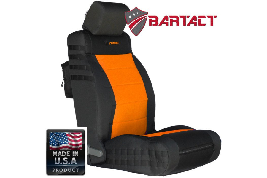 Bartact Tactical Series Front Seat Covers - Black/Orange, SRS-Compliant - JK 2011-12