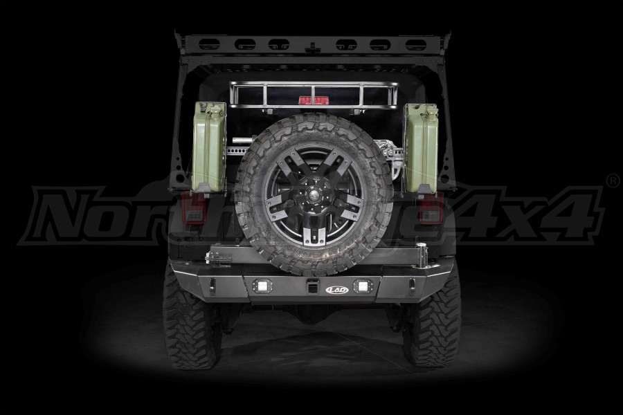 LOD Signature Series Armor Lite Gen 4 Full Width Rear Bumper w/Tire Carrier and Rigid Light Cut Outs Black ( Part Number: JBC0765)
