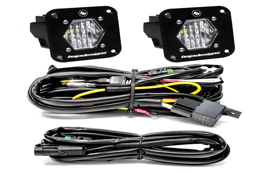 Baja Designs S1, Pair, Wide Cornering LED, Flush Mount, Backup Kit