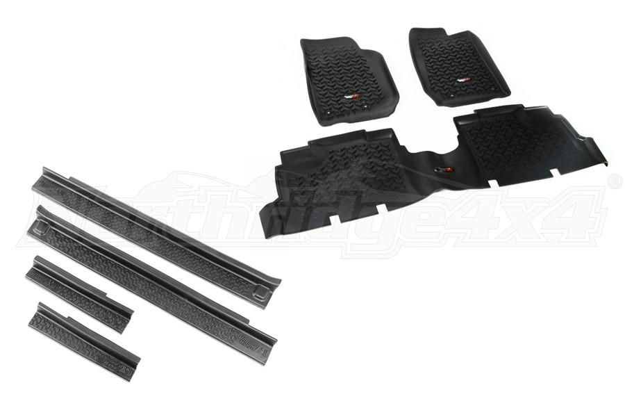 Rugged Ridge All Terrain Floor Liner Kit w/Door Entry Guards Package - JK 4Dr