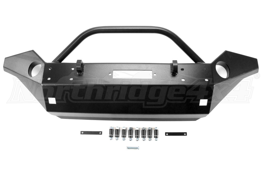 Rock Hard 4x4 Patriot Series Full Width Front Bumper w/Lowered Winch Plate Black (Part Number:RH-5045)
