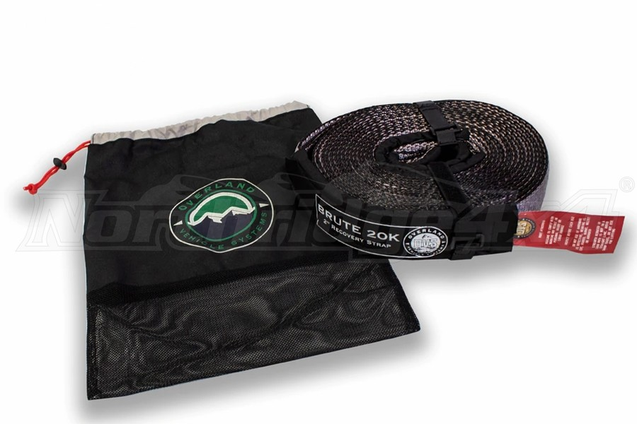Overland Vehicle Systems 2in x 30ft Tow Strap - Gray w/Black Ends