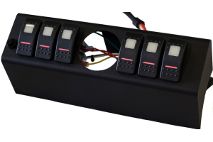 sPOD 6 Switch 2-1/16in Dia. Empty Gauge hole With Dual Lit LED Switches Green - JK