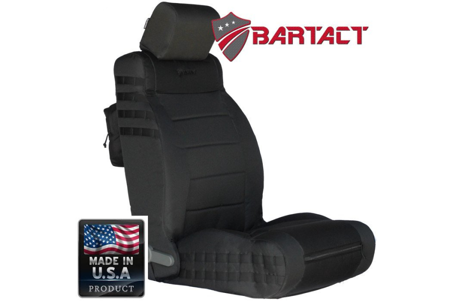 Bartact Mil-Spec Front Seat Cover Air Bag Compliant Black/Black (Part Number:JKAC1112FPBB)