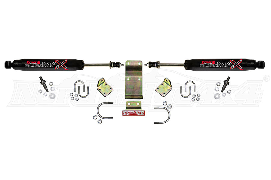 Skyjacker High Clearance Black Max Dual Steering Damper Kit - Black - JT/JL