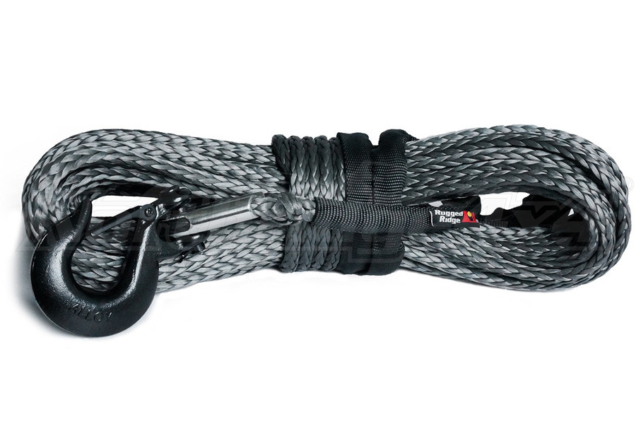 Rugged Ridge Synthetic Winch Line, Dark Gray, 25/64 (Part Number:15102.13)