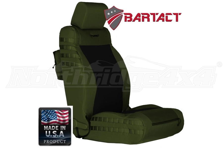 Bartact Tactical Series Front Seat Covers - Olive/Blue, Non-SRS Compliant - JK 2007-10
