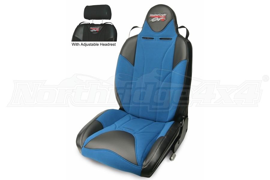 MasterCraft Baja RS DirtSport Reclining Seat w/Adj. Headrest - Black/Blue/Blue