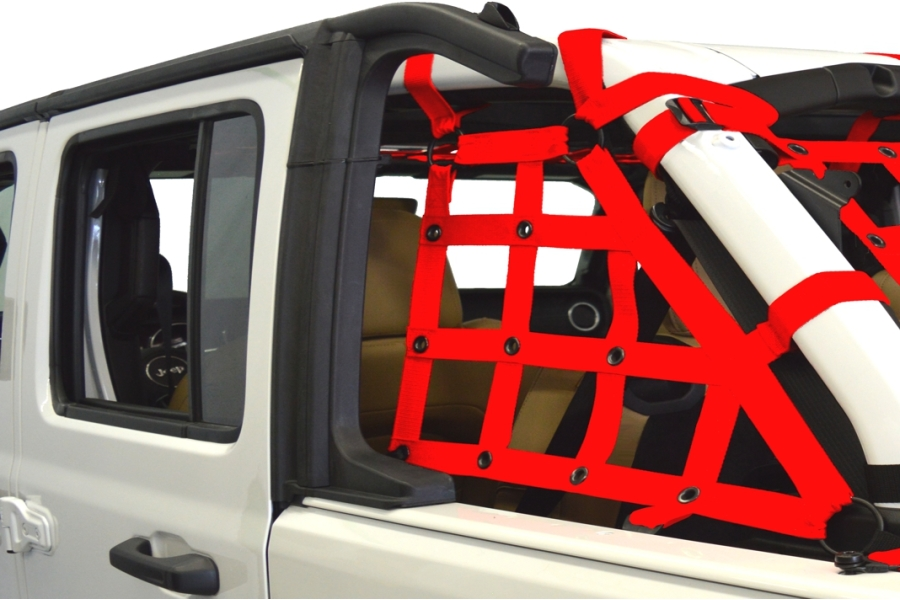 Dirty Dog 4x4 2pc Cargo side only Netting Kit, Red - JL 4Dr