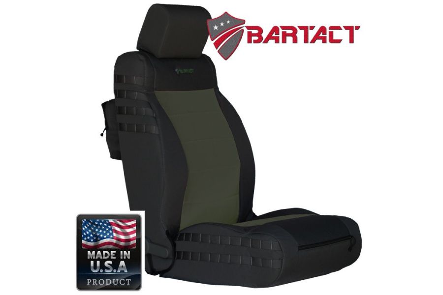 Bartact Mil-Spec Front Seat Cover Air Bag Compliant Black/Olive Drab (Part Number:JKAC0710FPBO)