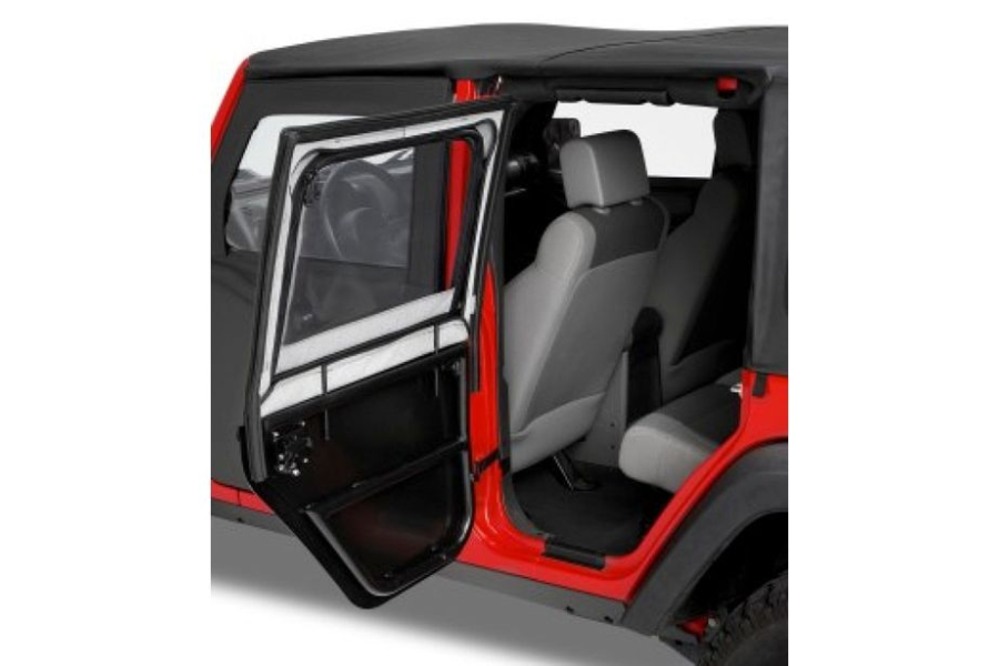 Bestop HighRock 4x4 Element Upper Half Rear Door Set Black Twill  - JK 4Dr
