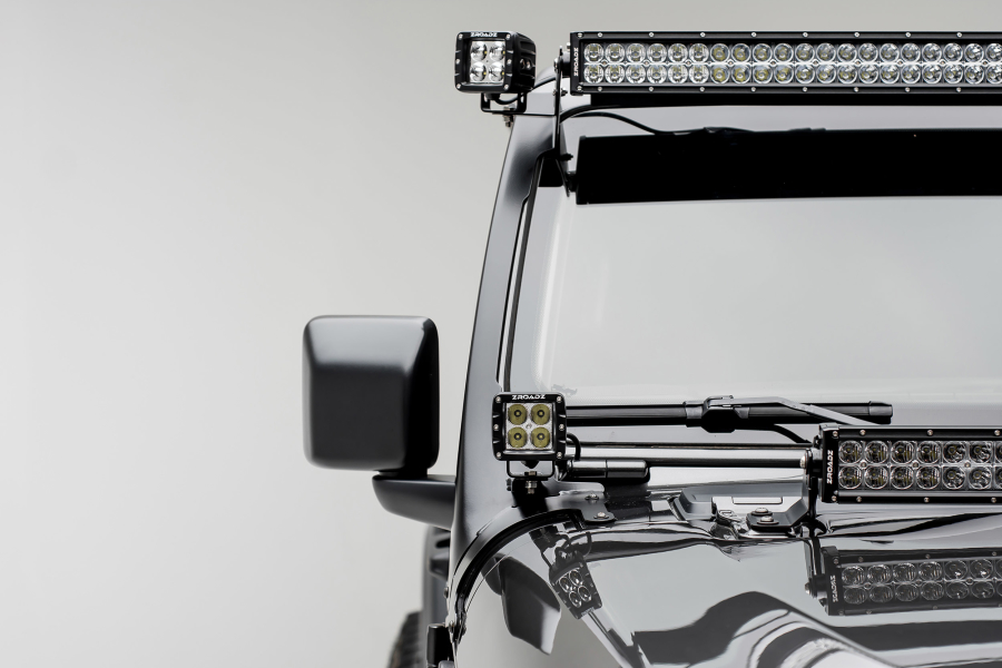 T-REX ZROADZ A Pillar Roof Level 52In LED Light Bar and 2 - 3in Cube LED Lights and Mounts - JL