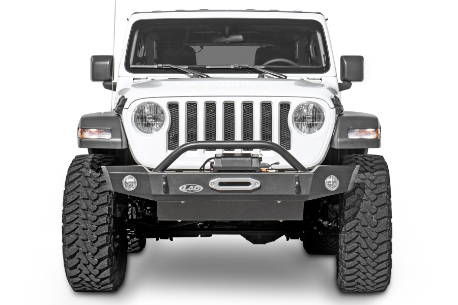 LOD Signature Series Mid Width Front Bumper with Bull Bar for Warn Power Plant Winch - JT/JL