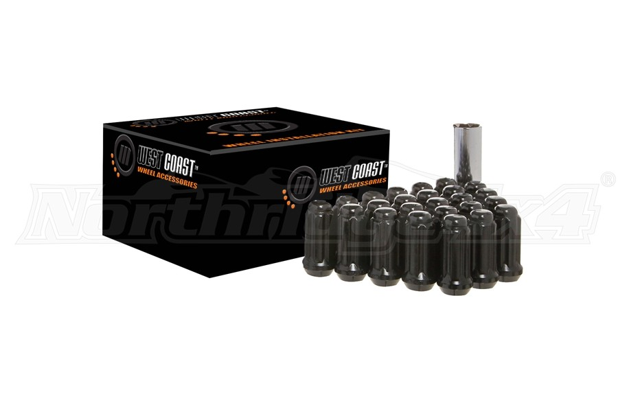 West Coast 1/2x20 Black Spline Drive Lug Nut Kit 1.9in – qty 24  - JK/TJ/XJ/YJ