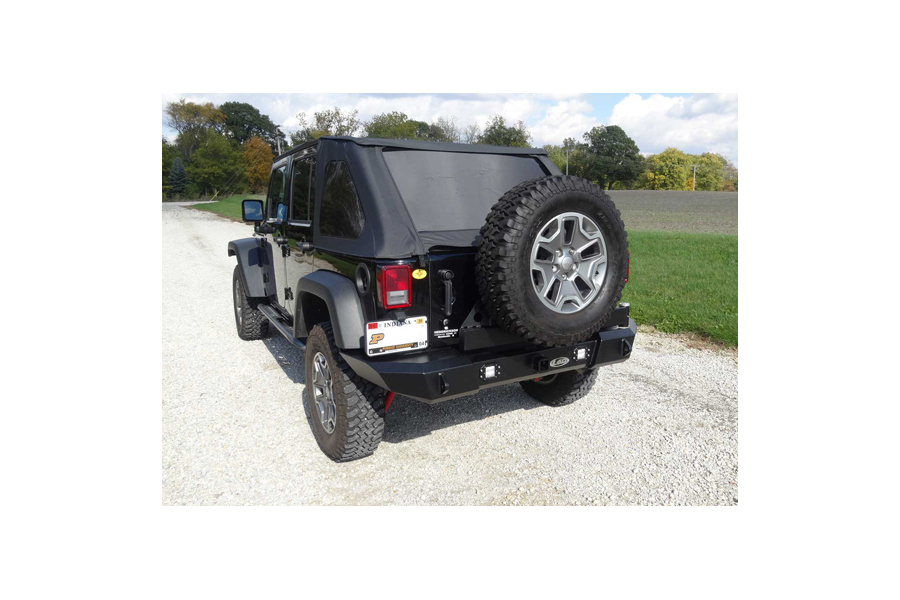 LOD Signature Series Gen 4 Full Width Door Linked Bumper w/Tire Carrier and Round Light Provisions, Black (Part Number:JBC0783)