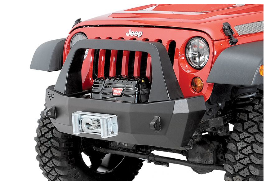 Rock-Slide Engineering Aluminum Series Shorty Front Bumper w/Bullbar and Winch Mount - JK