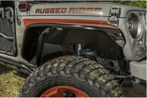 Rugged Ridge Front Inner Fender Liners, Aluminum - Black  - JL