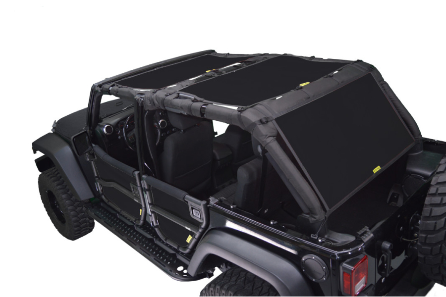 Dirty Dog 4x4 Sun Screen 3 pc Front, Back and Cargo Black (Part Number:J4SS07F3BK)