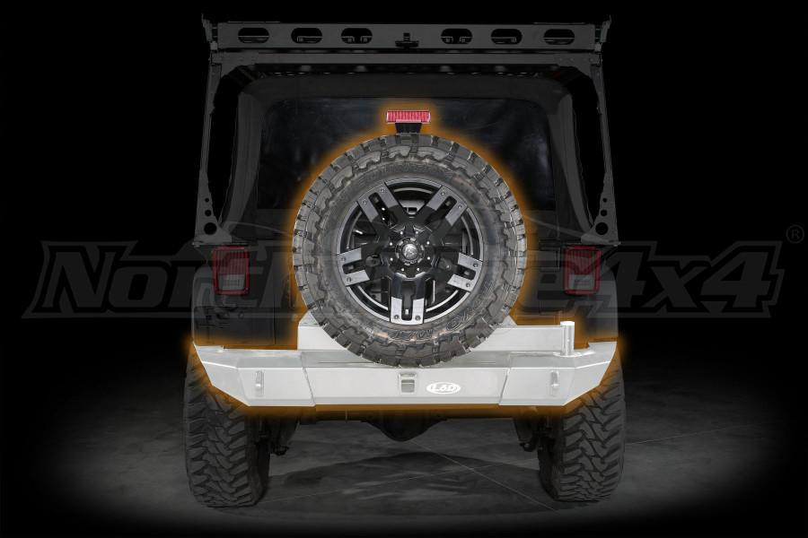 LOD Signature Series Gen4 Full Width Rear Bumper w/Door Linked Tire Carrier Bare Steel ( Part Number: JBC0780)