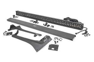 Rough Country Upper Windshield Kit w/ 50in Dual-Row Black Series LED Light Bar - White DRL - JT/JL