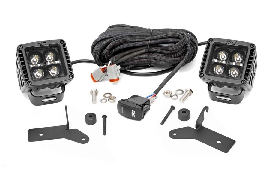 Rough Country 2in Black-Series LED Lower Windshield Kit w/ Amber DRL - JT/JL except Moab Models